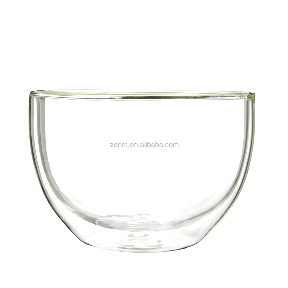 Large Double Wall Glass Matcha Tea Chawan Also Bowl for Salad Soup