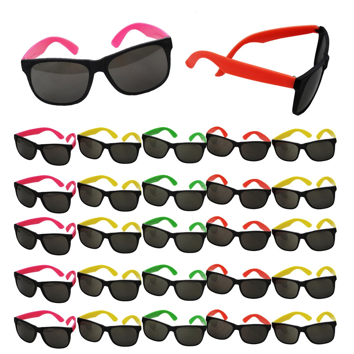 8fec2087ab Get Quotations · Tigerdoe Neon Sunglasses Party Favors - Set of 25 Plastic  Neon Shades for Kids and Adults