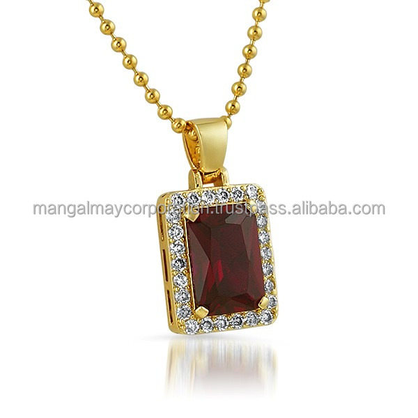 cz setting 925 sterling silver gold plated pendant