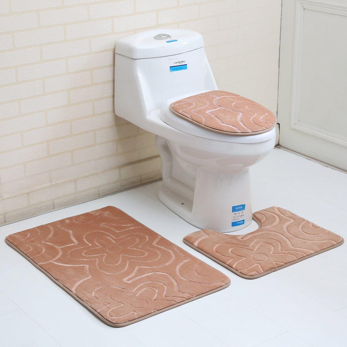 "3PC Bath Mat Rug Set Bathroom Non-Slip Floor Mat Flannel Pedestal Rug(15.7""x19.7"") + Lid Toilet Cover(15.7""x17.7"") + Bath Mat Makaor (19.7""x31.4"") (Light coffee)"