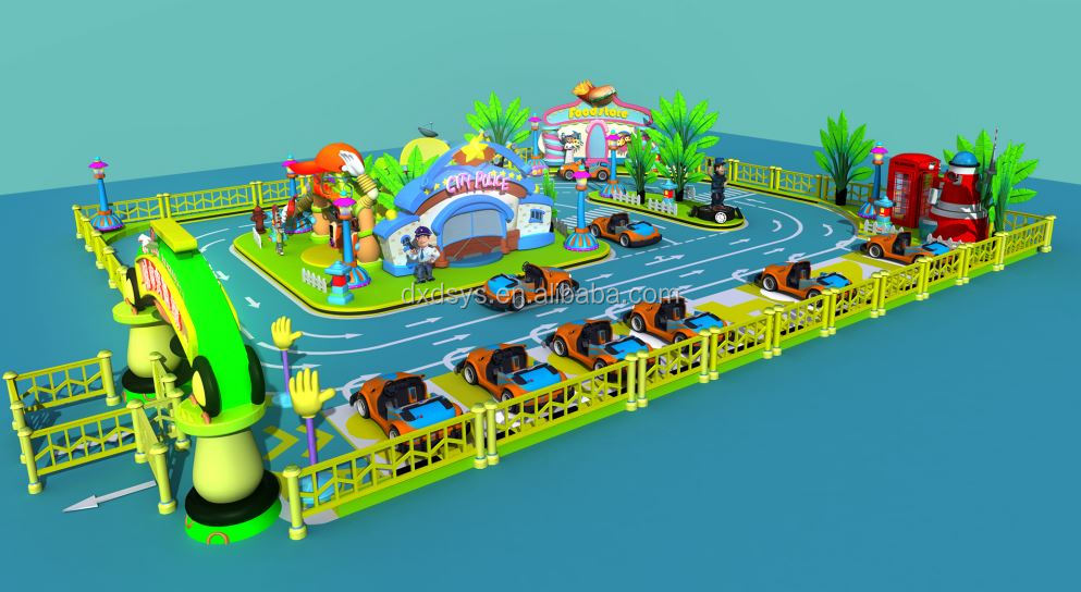 Battery car with theming for indoor amusement park