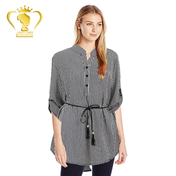 Women Fashion Striped V-Neck Baggy Blouse Lady Casual Loose Tunic Tops Plus Size Shirts