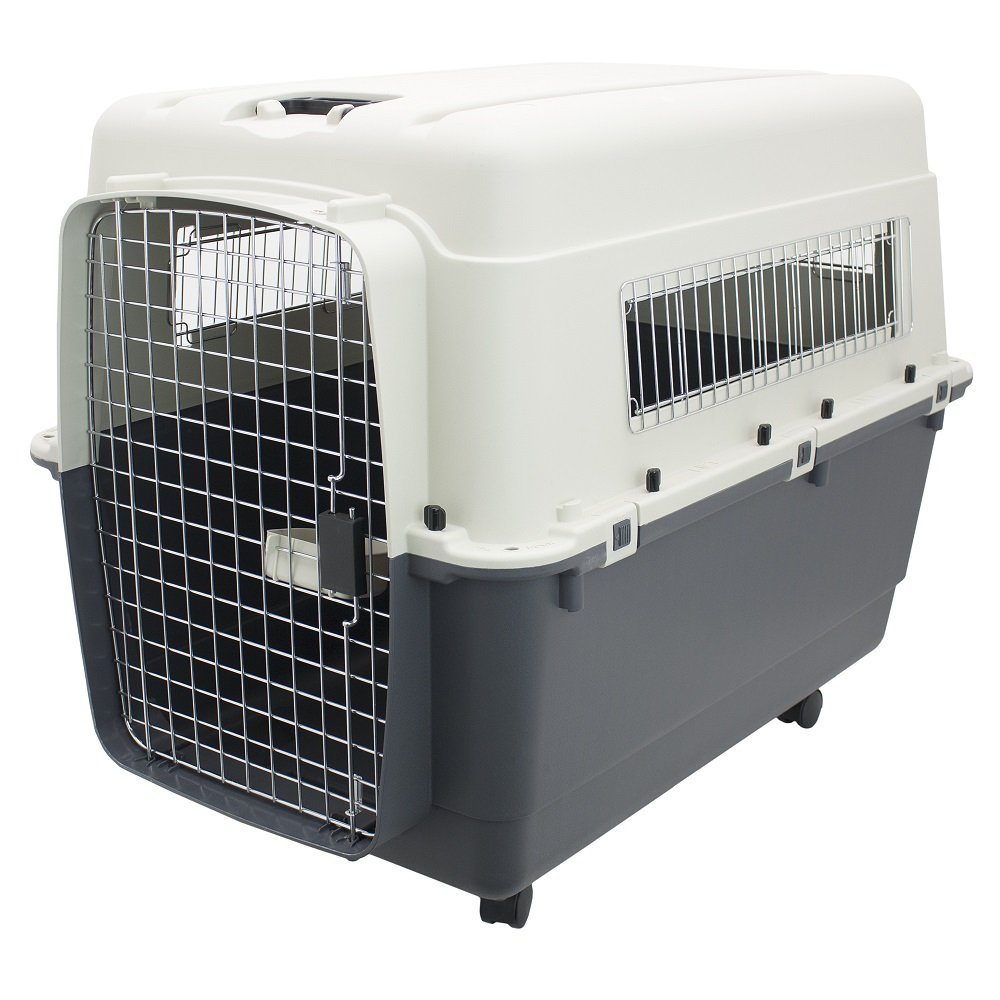 SportPet Designs Plastic Kennels – Rolling Plastic Airline Approved Wire Door Travel Dog Crate, XX-Large