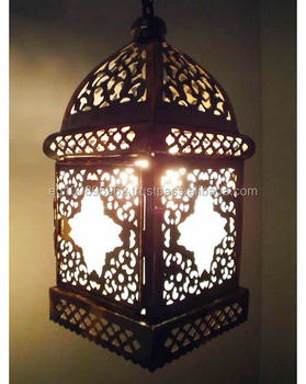 B3 Moroccan Style Brass Hanging / Table Lamp With White Stained Glass Lining