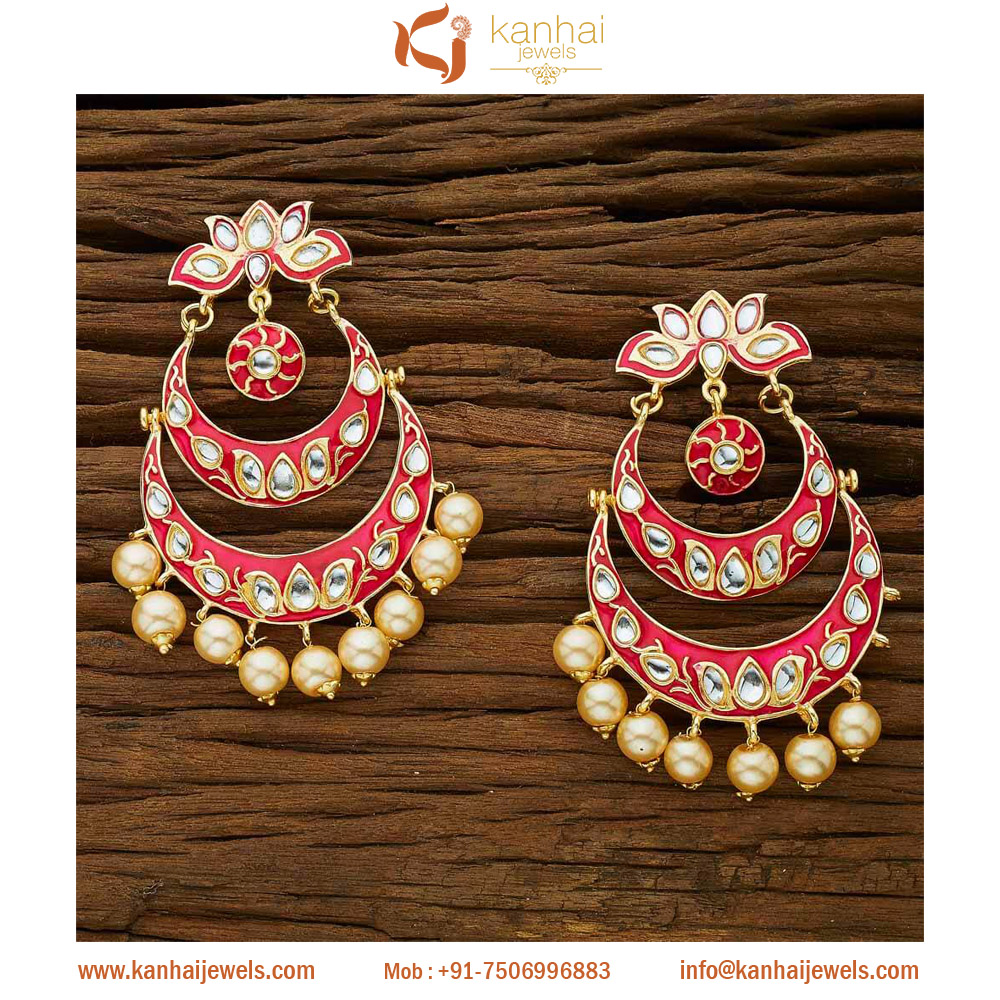 Gold plated handmade Classic Earring with Pearls 8488 Rani