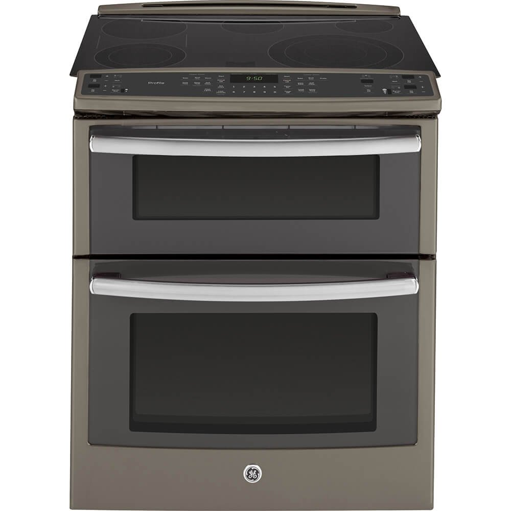 """PS950EFES 30"""""""" 6.6 cu. ft. Capacity Slide-In Double Oven Electric Range with True European Convection Expandable Bridge Zone Glass Touch Controls and Self-Clean Roller Rack in Slate"""