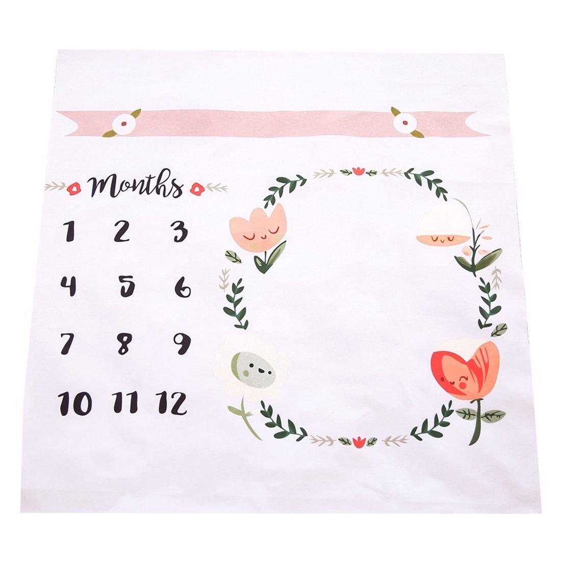 NinkyNonk Baby Monthly Milestone Blanket Newborn Photo Props Shoots Backdrop, Baby Swaddling Blanket for Photography