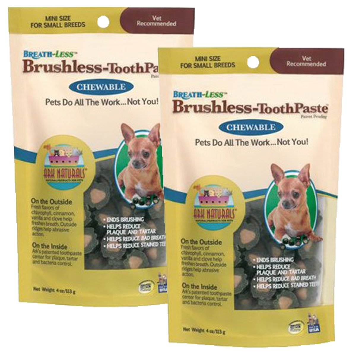 ARK Naturals PRODUCTS for PETS 326066 4-Ounce Breath-Less Chewable Brushless Toothpaste, Mini
