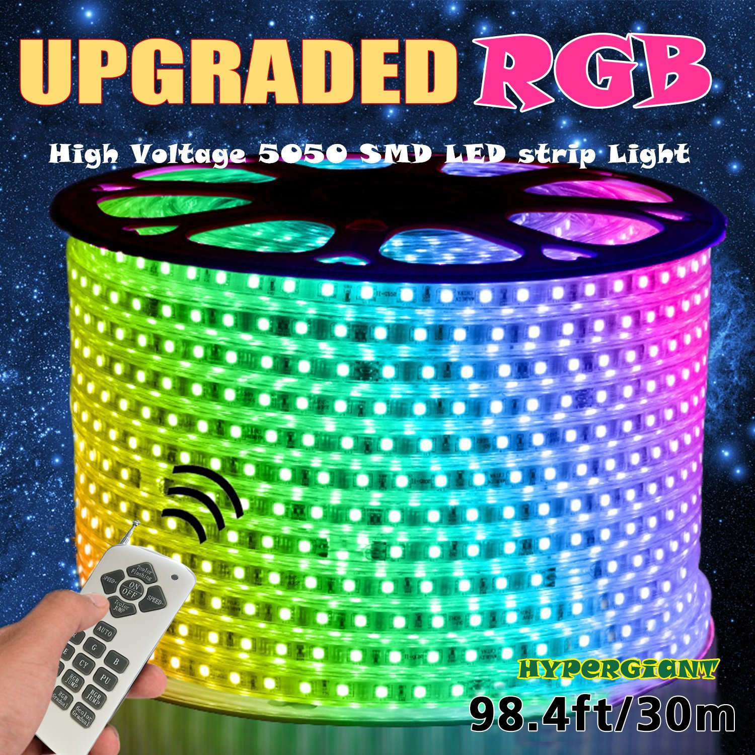 Hypergiant AC 110-120V Flexible RGB LED Strip Lights, 60 LEDs/M, Waterproof, Multi Color Changing 5050 SMD LED Rope Light + Remote Controller for Party Christmas Decoration (98.4ft/30m)