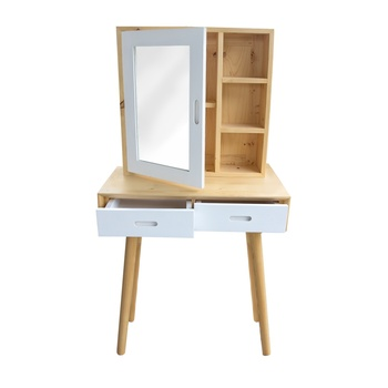 Hot selling Grenen Hout Witte Make-Up Kaptafel met Spiegel