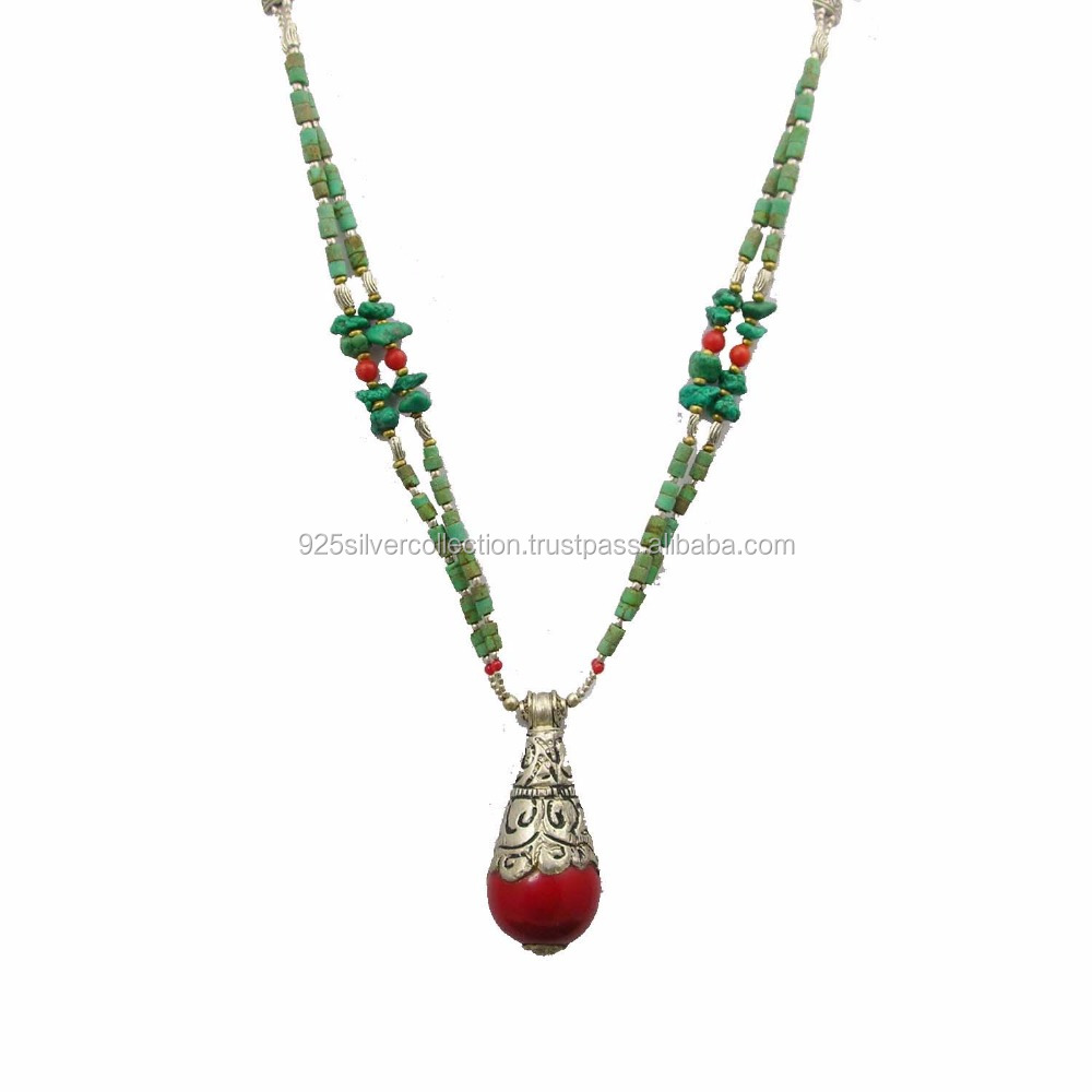 handmade glass bead seed color necklace image nepali products ethnicbit design thread multi long nepal pote