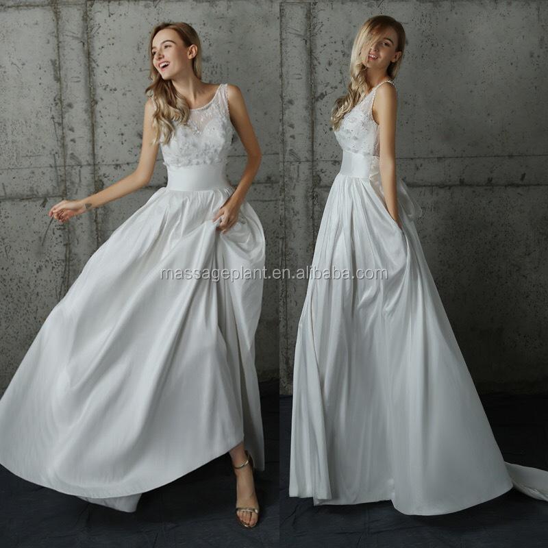 Spitze Brautkleid Simple White Wedding Dress Lange Vintage Hochzeit