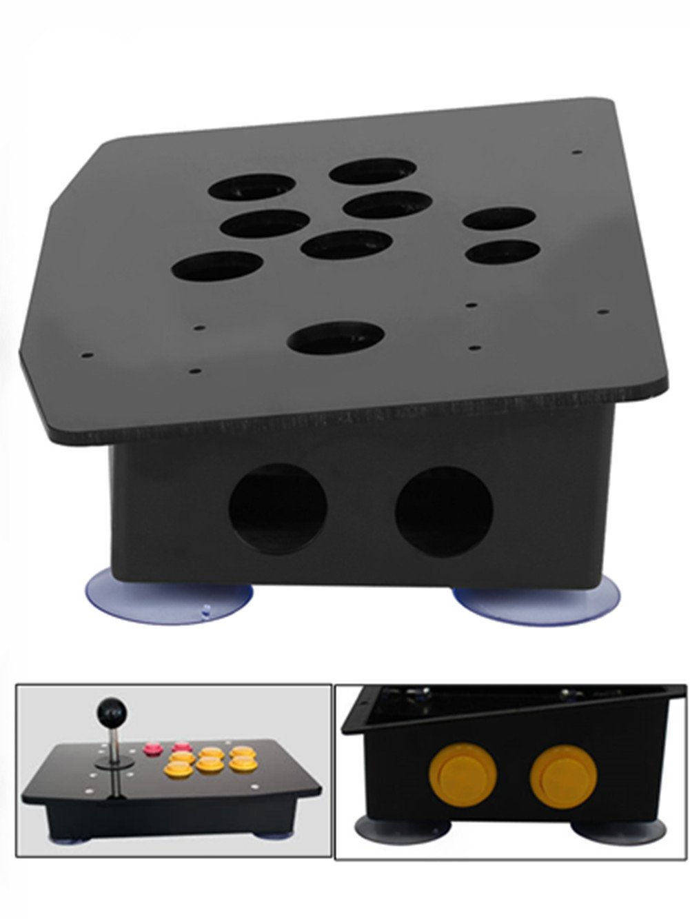 New Arrival DIY Arcade Panel Acrylic Inclined+Joystick Case Replacement for Arcade Game,Black