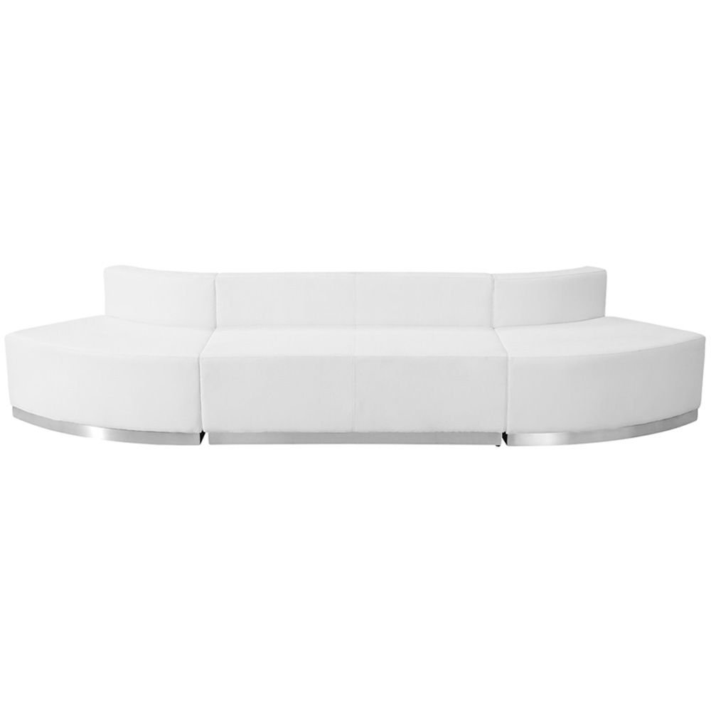 "Alon Series Arched Reception Seating in Bonded Leather - Three Piece Set Dimensions: 125.50""W x 33.50""D x 27""H Weight: 158 lbs White Bonded Leather/Brushed Stainless Steel Base"