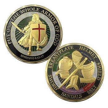 USA Hot Selling Custom Armor Of God Enamel Challenge Coin