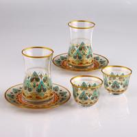 18 Pc Tea Set (6 Tea Cups + 6 Coffee Cups + 6 Saucers) - Decor: Sila (Transparent Background)