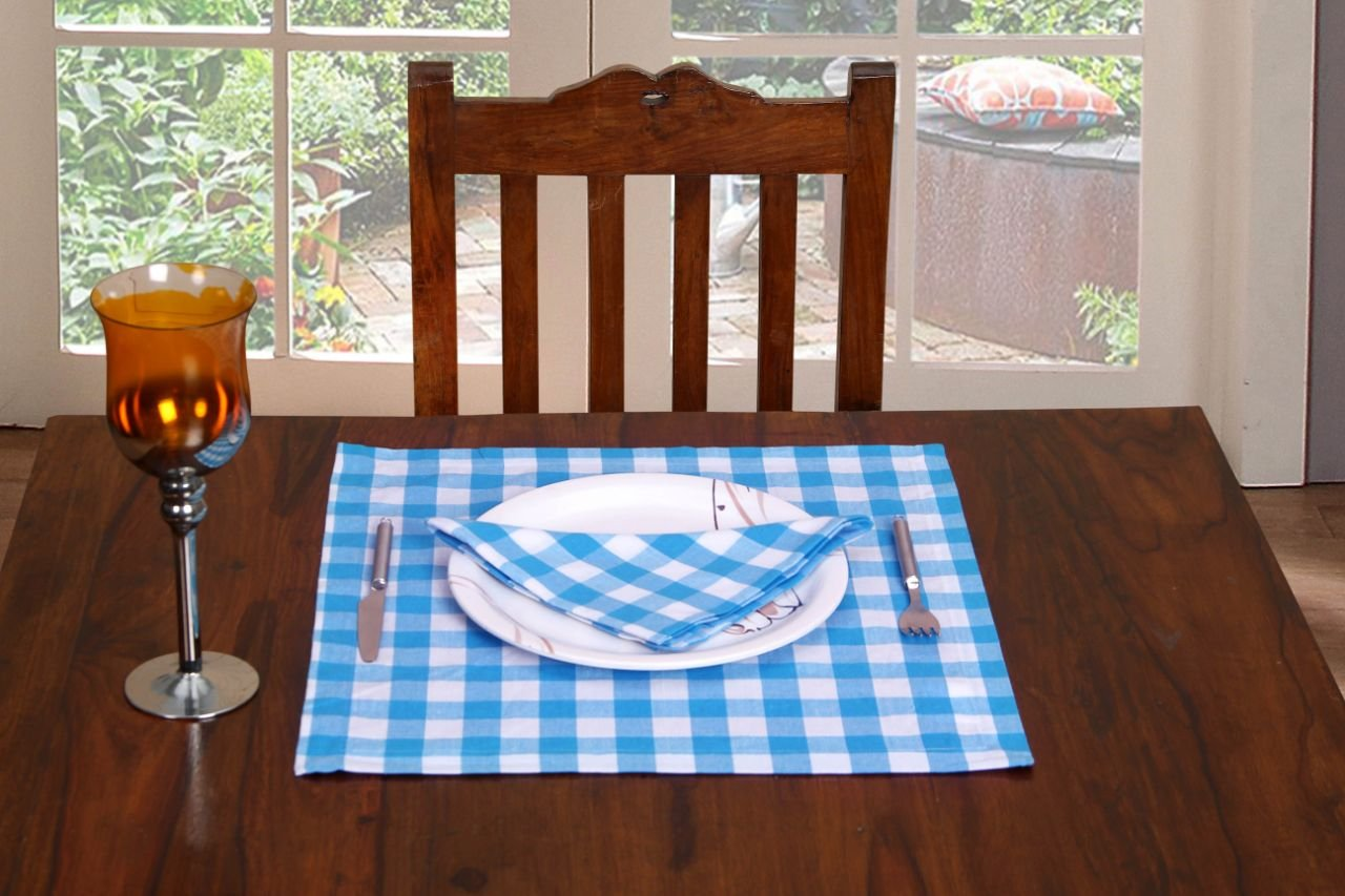 Cloth Napkin in Gingham Plaid Check Fabric-18x18 Light Blue, Wedding Napkins,Cocktails Napkins,Fabric Napkins,Cotton Napkins Mitered Corners & Generous Hem, Machine Washable Dinner Napkins Set of 12