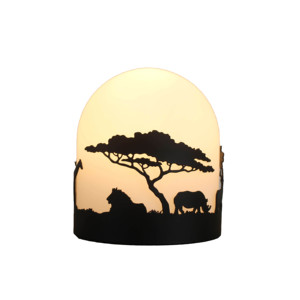 Decoration African Animal Metal Glass Table Lamp