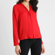 Women Long Sleeve Plain Red Casual Satin Blouse