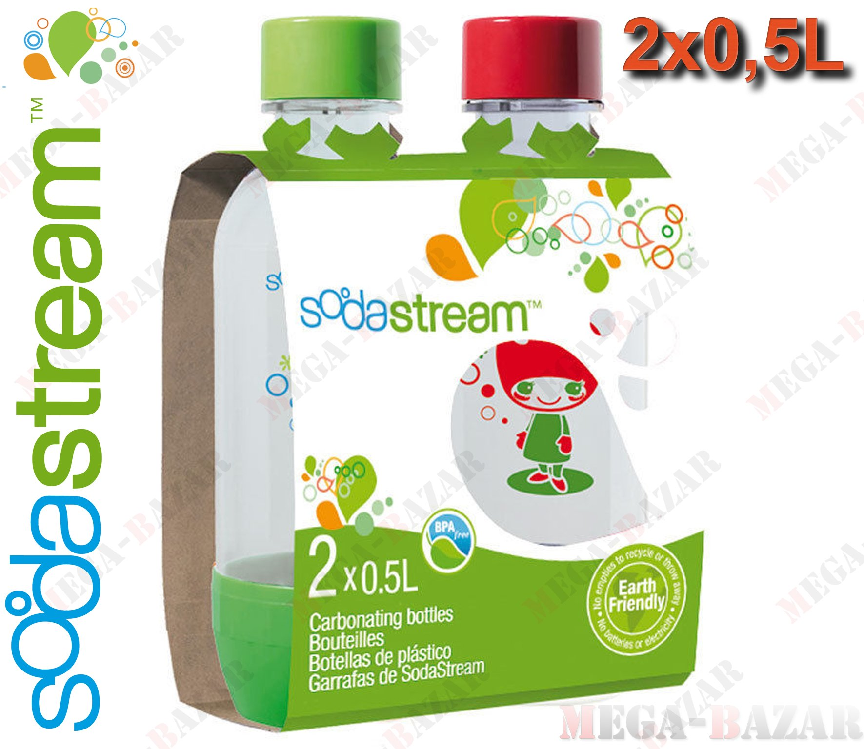 SodaStream Bottles - 100% ORIGINAL SodaStream Carbonating PET Bottles (2 x Bottles (Twinpack) - 0.5 Liter / 17.0 oz. Each Bottle)
