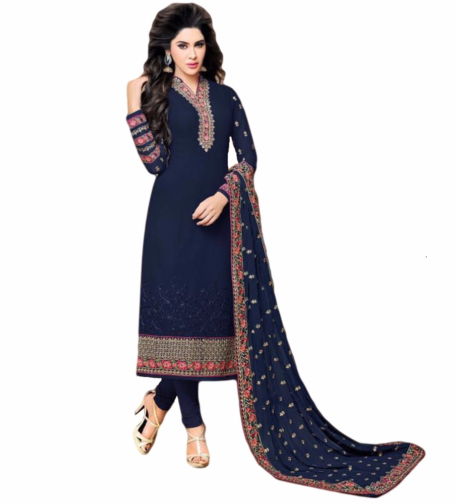 Gelegenheid Party Wear Zware Borduurwerk Semi-Sttiched Georgette Jurk Materiaal Salwar Kameez 2017 (salwar kameez Suits)