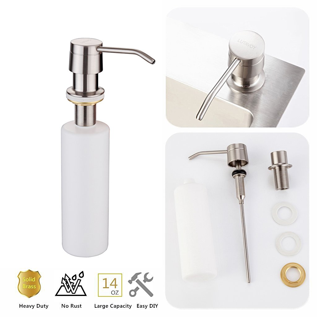 Fapully Kitchen Soap Dispenser Bar Basin Sink Faucet Brushed Nickel