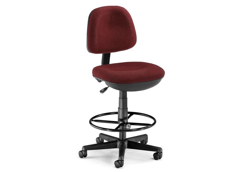 "Low-Back Drafting Stool Burgundy Fabric/Black Frame Dimensions: 24.75""W x 24.75""D x 39.25-47""H Seat Dimensions: 19.5""Wx17.75""Dx24.25-32""H"