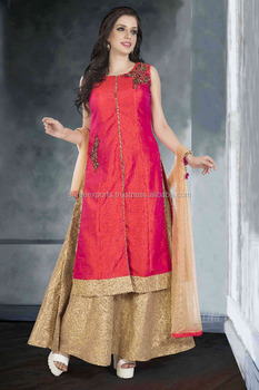 Red Chanderi Silk Lehenga Style Suit / Suits / Salwar Kameez ...