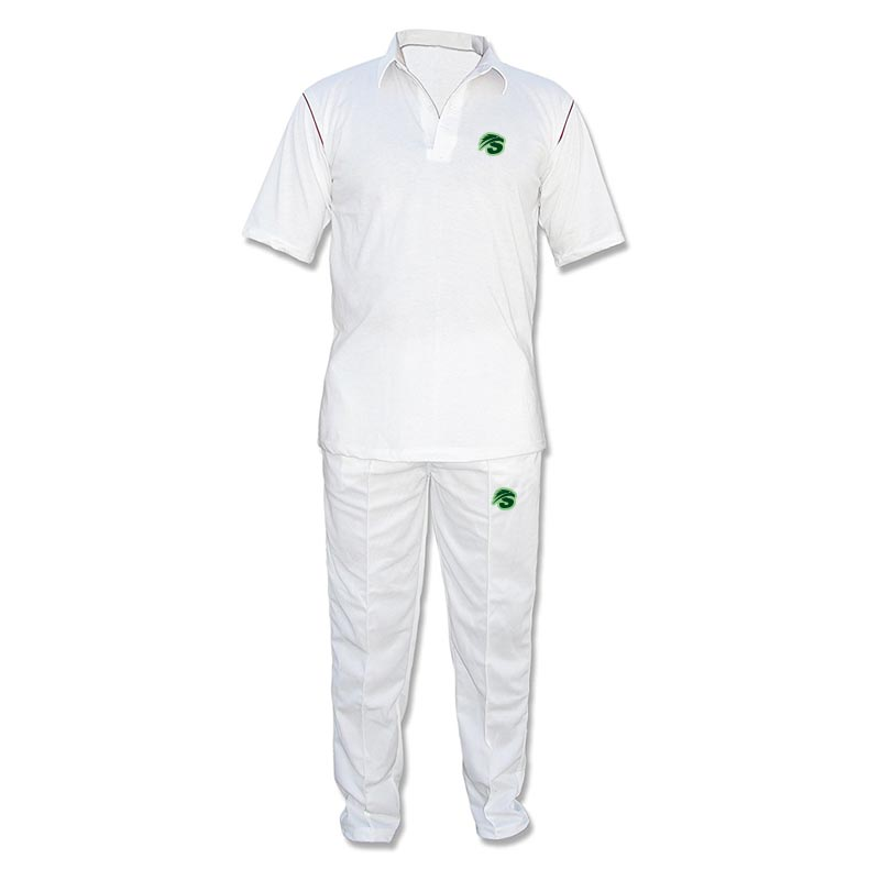 Cricket branco Uniforme com o logotipo
