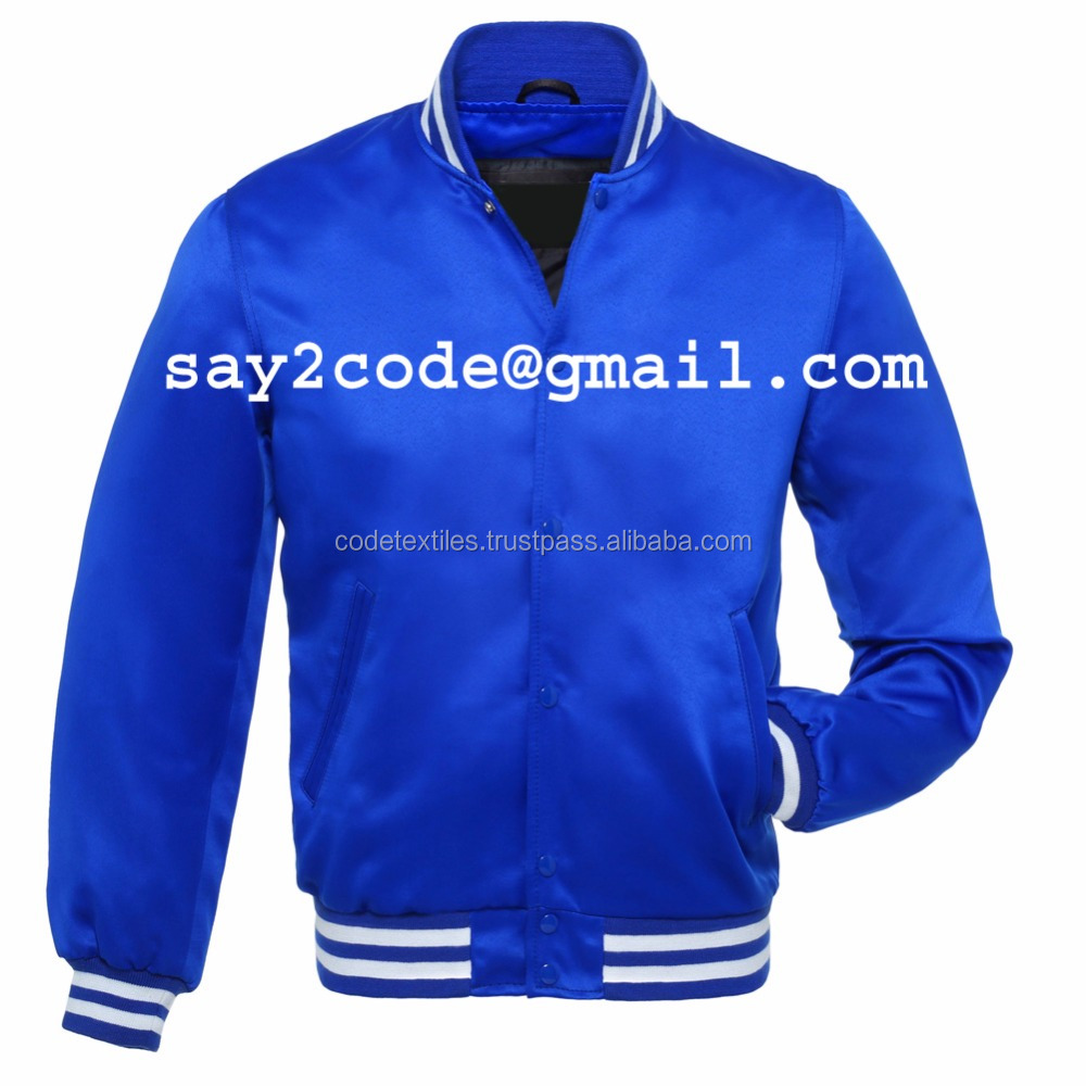 2017 New Custom Satin Varsity Jackets Supplier / Letterman Varsity Jackets ,College Jacket From Pakistan Blue satin Varsity