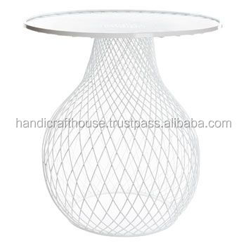 Industrial Wired White Metal Glass Top Coffee Table, View table ...
