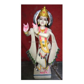 Stunning Hand Curved White Marble Hindu Idol Lord Krishna Statue