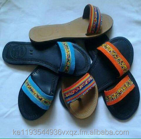 FRONT CROSS BEAD LEATHER SANDALS/SLIPPERS ( CRB- NO 1-5)