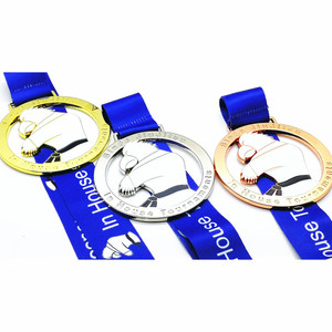 4inch big size 3D design jiu jitsu sports gold silver copper award sublimation ribbon medal