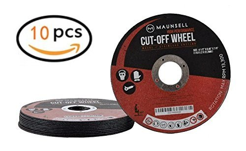 """Maunsell 10 Pack - Professional 4 1 2 Cutting Wheels For Grinders - For Metal & Stainless Steel/INOX - 4 1/2"""" x 045"""" x 7/8-Inch 