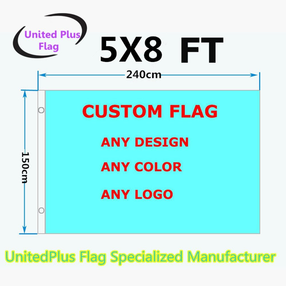 Unitedplus 5x8 Foot custom flag-100D Polyester with Brass Grommets 5 X 8 Ft- Customize Flags And Banners For Sport Outdoor Banner custom flag- Advertising Banner (5X8 FT)