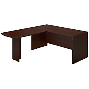 """Bush L-Shaped Peninsula Desk Shell 66""""W X 77""""D X 30""""H 1"""" Thick Work Surfaces & End Panels Work Surfaces Feature Grommets For Wire Management  - Mocha Cherry"""