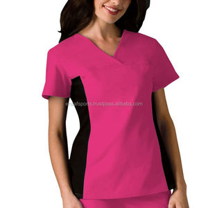 Women's V-Neck Solid Knit Panel medical Scrub Top,Color Combination Scrub Shirt, Women's 2 Pocket V-Neck Solid Scrub Top/Hospita