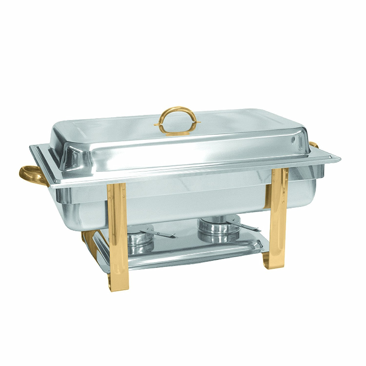 Tiger Chef 8 Quart Full Size Buffet Chafing Dish Set with Gold Accents and Gel Fuel Cans
