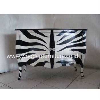 Commode Zebre Imprime Animal En Bois De Style Francais Armoire