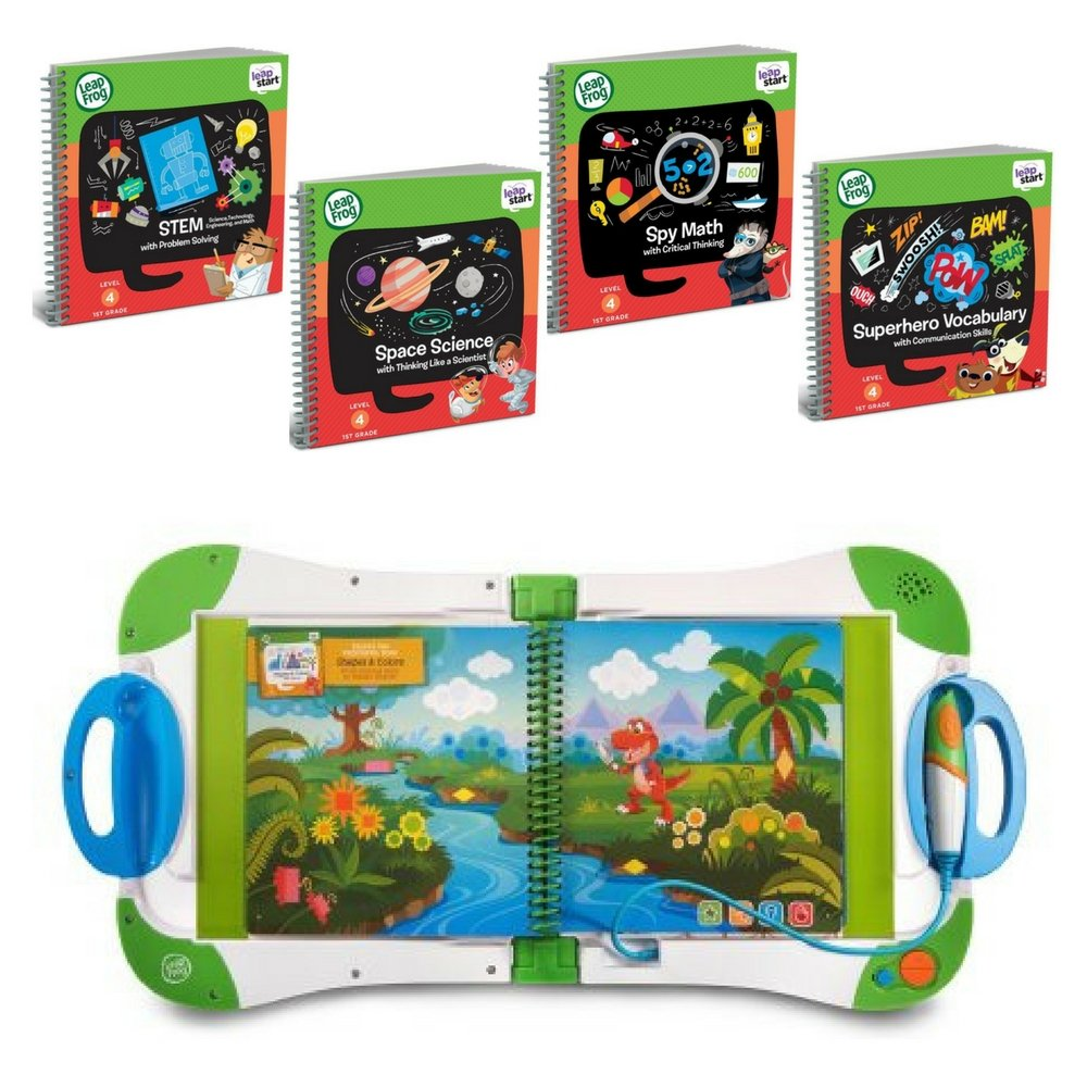 LeapFrog LeapStart Interactive Learning System Preschool & Pre-Kindergarten, For Kids Ages 2-7 With 1st Grade Activity Books: Space Science, STEM, SpyMath and Superhero Vocabulary, Fun Gift Bundle