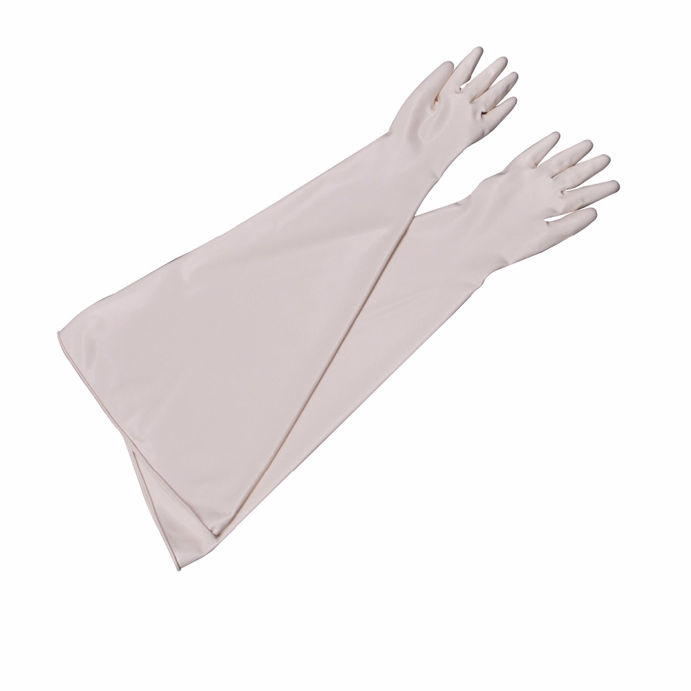 White Gloves with Plastic Material for Protection and Phone Production