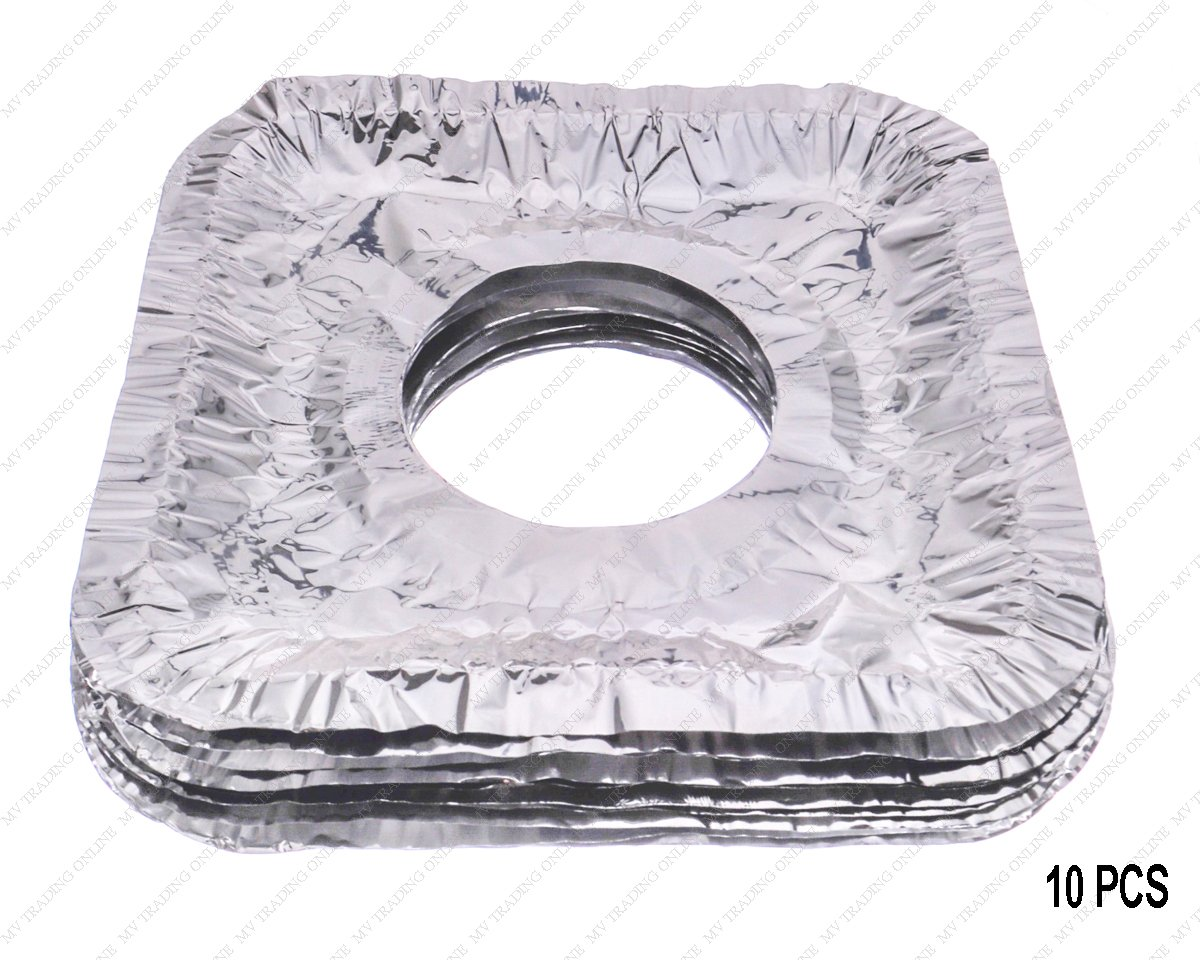 Aluminum Foil Square Gas Stove Burner Covers, Disposable Thicker Bib Liners Covers for Gas Top, Set of 10 Covers, 8-1/2 Inches x 8-1/2 Inches (Inner Circle 3-1/2 Inches)