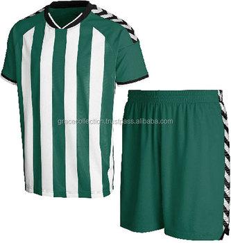 De Fútbol De Sublimación De Verde Blanco Contrastr Rayas Uniforme ... a24d1cf5383b4