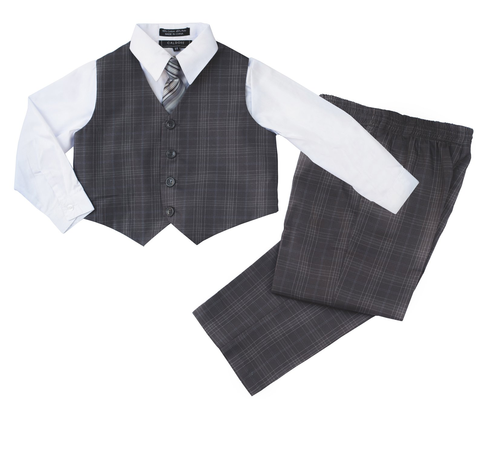 ec7112c0b1d3 CALDORE USA Boys Formal Suit Set - Vest Dress Shirt Pants and Matching Tie  Dressy Wear Outfit By Caldore
