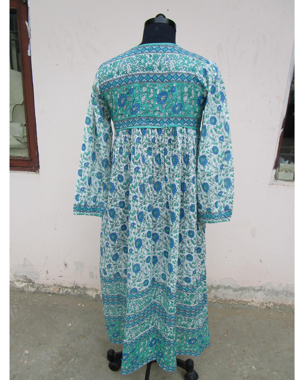 India Jaipur Karni Cotton Maxi Dress Green Blue Flower Latest Maxi ...