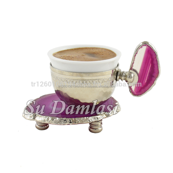 Espresso Cup 2.35 Oz, Porcelain Coffee Cups, Gold, Silver, Demitasse, Agate, Hajar, Arabic, Turkish Cup, Nespresso, Turkey