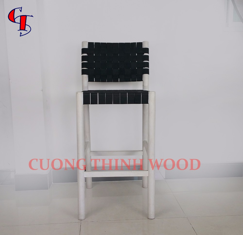 Rubber wood furniture milo bar stool with band woven seat and backrest