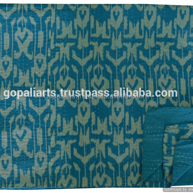 Blue Ikat Paisley Print Kantha Quilted Bedspread Kantha Bedsheet Cotton Bedcover