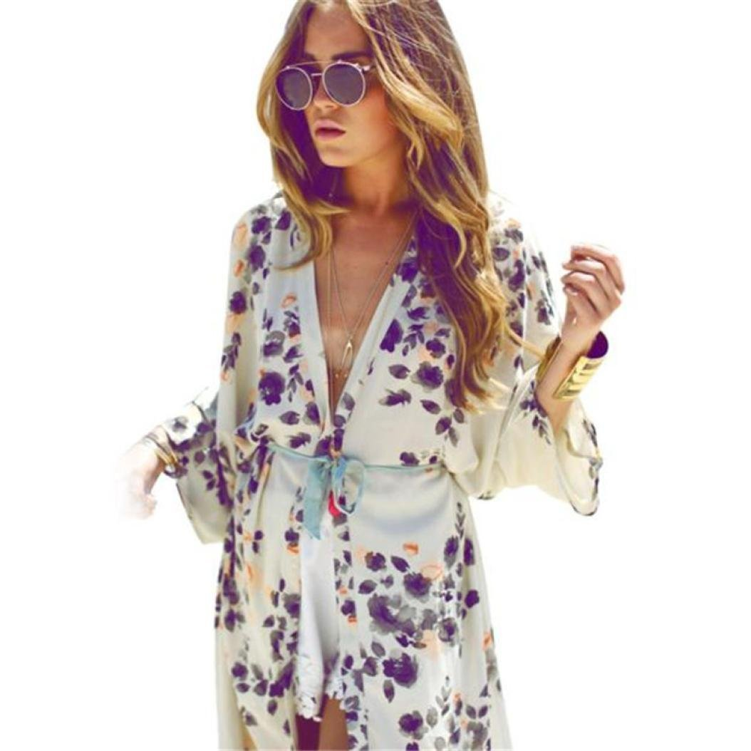 Cardigans,FUNIC Womens Chiffon Kimono Cardigans Floral Printed Coat Tops Blouse Cover up (XL, White)